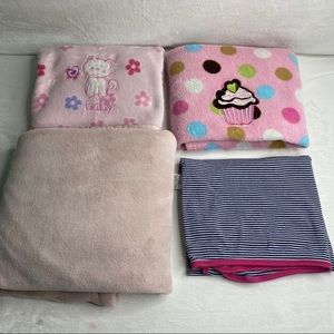 Lot of 4 baby girl blankets cupcake cat flowers